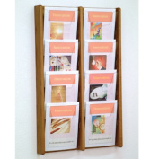 Wooden Mallet AC34-8MO Stance 8 Pocket Wall Display in Medium Oak - 2Wx4H