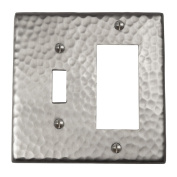 The Copper Factory Solid Hammered Copper Single Switch and GFCI Combination Plate in Satin Nickel Finish - CF125SN