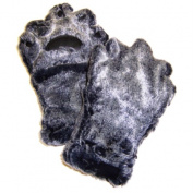 BearHands YX1000G-B Youth Large Faux Fur Mittens - Grey-Black