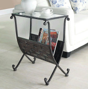 Monarch Specialties I 3313 Black - Taupe Mix Metal Magazine Table W- Tempered Glass