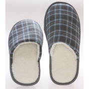 Living Healthy Products CCWF-910-blue 9-10 Chequered Cotton Wool Fleece Lining Mens House Slippers