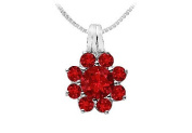 FineJewelryVault UBPD530W14R-101 Ruby Flower Pendant : 14K White Gold - 2.75 CT TGW