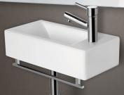 ALFI brand AB108 Small Modern Rectangular Wall Mounted Ceramic Bathroom Sink Basin - White