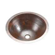 Premier Copper Products LR17FDB Round Under Counter Hammered Copper Sink, Oil Rubbed Bronze
