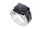 FineJewelryVault UBRT19W14DBOX-101 Black Onyx and Diamond Rope Ring : 14K White Gold - 11.50 CT TGW - Size