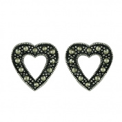 Vera and Co 2M-2319Z Sterling Marcasite Open Heart Earrings