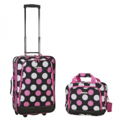 """Rockland 19"""" Rolling Carry On with Tote - Multi Pink Dot"""