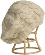 Nirvanna Designs CH208 White Cable Beret with Fleece Band Lining