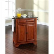 Modern Marketing KF30024BCH LaFayette Solid Black Granite Top Portable Kitchen Island in Classic Cherry Finish