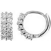Doma Jewellery DJS02345 Sterling Silver (Rhodium Plated) Hoop Earring with CZ
