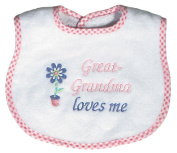 Dee Givens & Co-Raindrops 6737 Great-Grandma Loves Me Small Bib - Pink