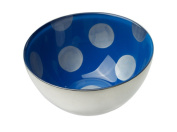 MoMo Panache 807240 Condi Bowls Silver with Sapphire Blue and large silver dots pair