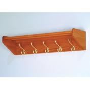 Wooden Mallet 32HCRMO 5 Hook Shelf in Medium Oak - Brass