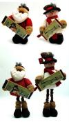 Fabric Burlap Stuffed Santa or Snowman with Expandable Legs