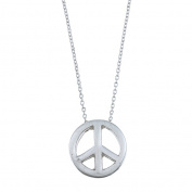 Zirconmania 629P-11818S Silvertone Peace Charm Necklace