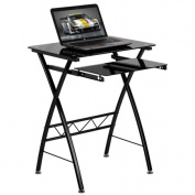 Flash Furniture Black Tempered Glass Computer Desk with Pull-Out Keyboard - NAN-CP-60-GG