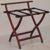 Wooden Mallet LR4-MHBLK WallSaver Luggage Rack in Mahogany with Black Webbing