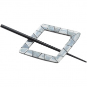 Black Shell Diamond Shaped Shawl Pin-