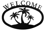Village Wrought Iron WEL-139-L Large Palm Trees Welcome Sign
