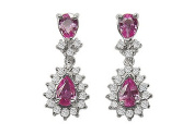 FineJewelryVault UBAB136PS-107 Pink Sapphire and Diamond Earrings : 14K White Gold - 2.00 CT TGW