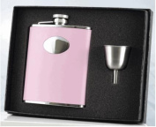 Visol VSET16-1123 Daydream Pink Leather 6oz Flask Gift Set