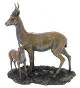 Unicorn Studios WU74738A4 Gazelle and Fawn Bronze Sculpture