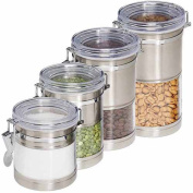 Honey-Can-Do International KCH-01310 4 Pack Stainless & Acrylic Canisters