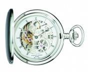 Charles-Hubert Paris 3906-W Brushed Finish Stainless Steel Hunter Case Mechanical Pocket Watch