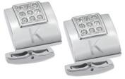 Visol VCUFF703 Grandeur Crystal Brushed Stainless Steel Cufflinks
