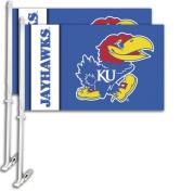 Bsi Products 97014 Car Flag W/Wall Brackett - Kansas Jayhawks