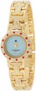 Charles-Hubert Paris 6791-G Gold-Plated Light Blue MOP Dial with 4 Interchangeable Bezels Watch