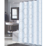 Carnation Home Fashions 100-Percent Polyester Fabric Print 180cm by 210cm Shower Curtain, X-Long, Ava, Black/White