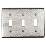 The Copper Factory Solid Hammered Copper Tripple Switch Plate in Satin Nickel Finish - CF127SN