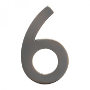 Architectural Mailboxes 3582DC Number 6 Solid Cast Brass 4 inch Floating House Number Dark Aged Copper 6