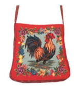 123 Creations C556PS Rooster petit-point purse