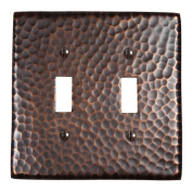 The Copper Factory Solid Hammered Copper Double Switch Plate in Antique Copper Finish - CF123AN