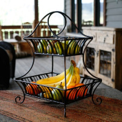 Mesa Home Products Delaware 2-Tier Basket, Black with Brushed Copper Finish