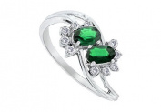 FineJewelryVault UBBM655WDE-101 Emerald and Diamond Ring : 14K White Gold - 2.00 CT TGW - Size