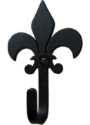 Village Wrought Iron WH-121-S Fleur-de-Lis Wall Hook Small - Black