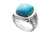 FineJewelryVault UBRT14W14TQ-101 Turquoise Rope Ring : 14K White Gold - 10.00 CT TGW - Size