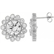 Doma Jewellery DJS01976 Sterling Silver (Rhodium Plated) Earring with CZ - 17mm Diameter