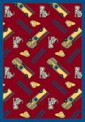 Joy Carpets 1415B-02 Hook and Ladder Red 3 ft.10 in. x 5 ft.4 in. 100 Pct. STAINMASTER Nylon Machine Tufted- Cut Pile Just for Kids Rug
