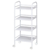 Blue Hills Studio SH4WH 4-Shelf Storage Cart - White