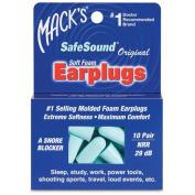 Macks 360000 Ear Care Safesound Earplugs - 10 Pair