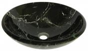 Novatto TID-035 PALLINA Black and White Marble Design Glass Vessel Sink 16.5-Inch Diameter Black White