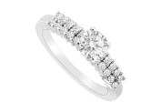 FineJewelryVault UBJS3117AW14D-101 Diamond Engagement Ring : 14K White Gold - 0.75 CT Diamonds - Size 7