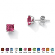 PalmBeach Jewelry 5062910 Sterling Silver Princess-Cut Birthstone Stud Pierced Earrings October - Simulated Tourmaline