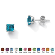 PalmBeach Jewelry 5062912 Sterling Silver Princess-Cut Birthstone Stud Pierced Earrings December - Simulated Topaz