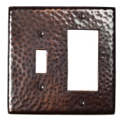 The Copper Factory Solid Hammered Copper Single Switch and GFCI Combination Plate in Antique Copper Finish - CF125AN