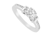 FineJewelryVault UBJS3086AW14D-101 Diamond Engagement Ring : 14K White Gold - 1.00 CT Diamonds - Size 7